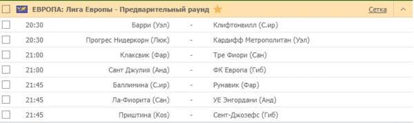 PINUP - ЕВРОПА: Лига Европы - Предварительный раунд