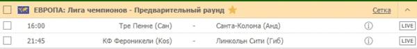 ЕВРОПА: Лига чемпионов - Предварительный раунд