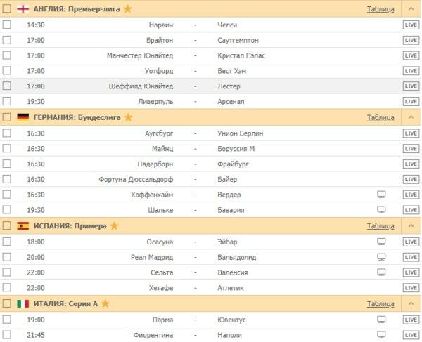 АНГЛИЯ: Премьер-лига / ГЕРМАНИЯ: Бундеслига / ИСПАНИЯ: Примера / ИТАЛИЯ: Серия А
